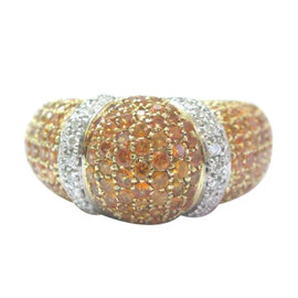 Salavetti 18K Yellow Gold, Orange Sapphire & Diamond Pave Dome Ring