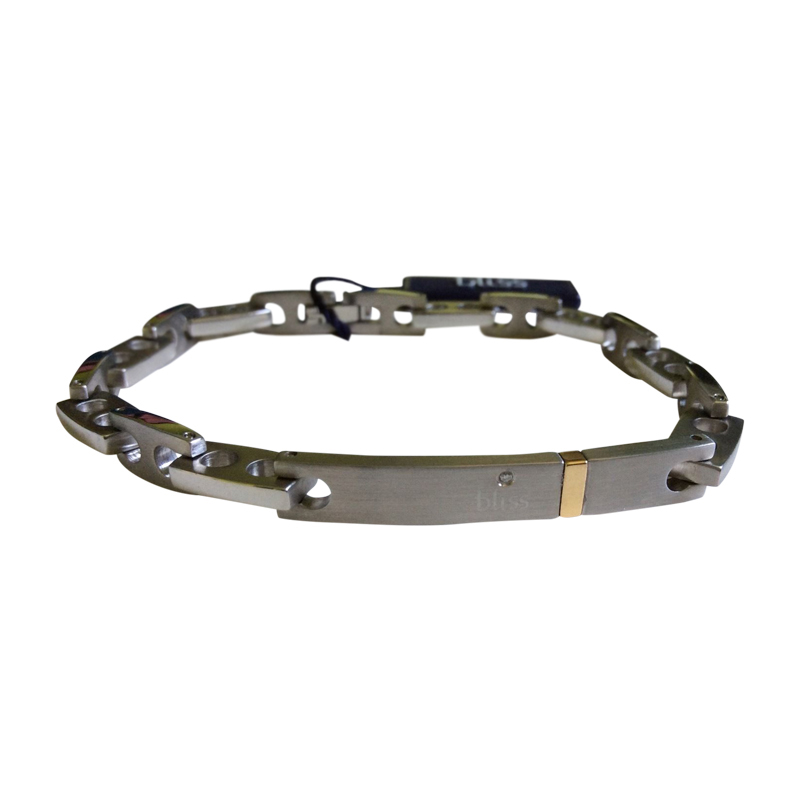 "Image of ""Bliss by Damiani 'Joint' Stainless Steel Diamond Gold Bracelet"""