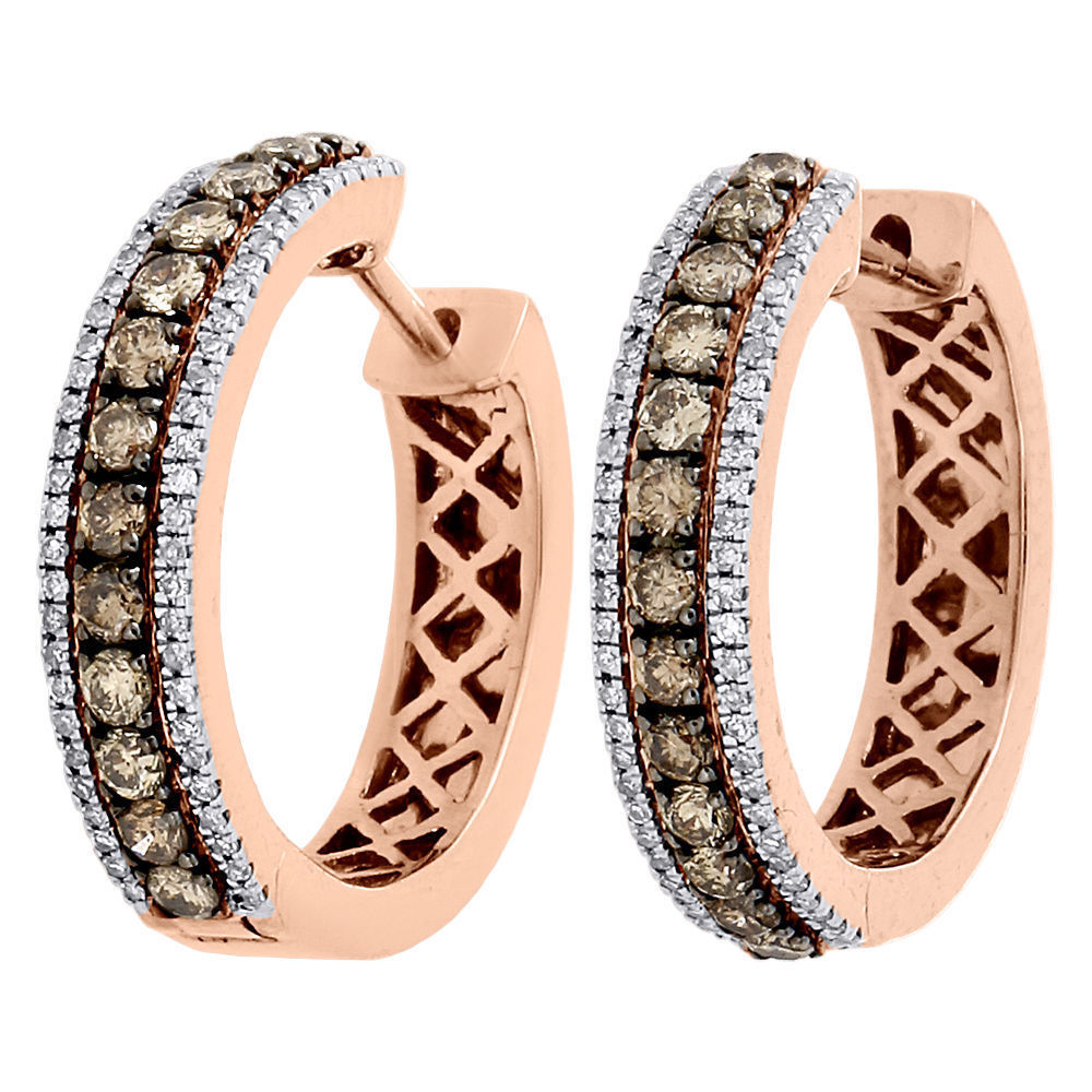 "Image of ""10K Rose Gold Brown and White 1.00ctw Diamond Hoop Huggie Earrings"""