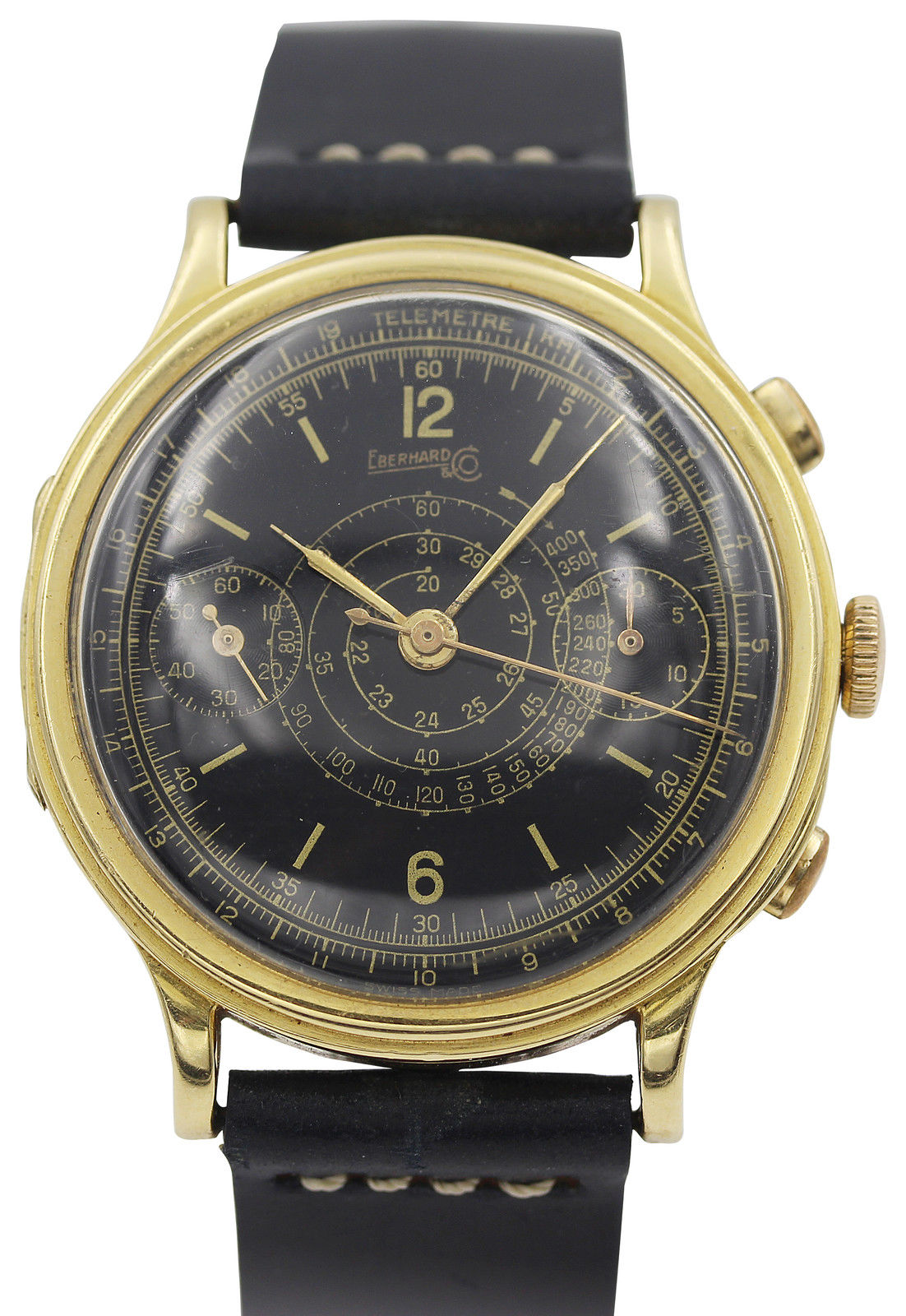 "Image of ""Rare Eberhard & Co. 18K Yellow Gold Chronograph Mens Watch"""