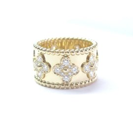 Van Cleef & Arpels 18K Yellow Gold Perlee Clover Diamond Band Ring