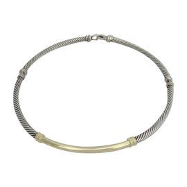 David Yurman 14K Yellow Gold 925 Metro Three Part Cable Choker Necklace