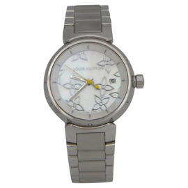 Louis Vuitton Q121C Tambour Mother Of Pearl Stainless Steel Ladies 28 mm Watch