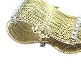 Yellow Gold Fine 12-Row 5-Stationary 3.00 ct Diamond Bracelet