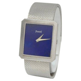 Piaget 9154 Blue Lapis 18K White Solid Gold Dial Wrist 26mm Ladies Watch