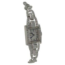 Hamilton Platinum Vintage 2.00ct Diamond Manual 15mm Ladies Watch