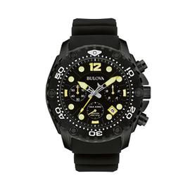Bulova 98B243 Sea King Chronograph Date 300m WR Black Rubber Strap Watch