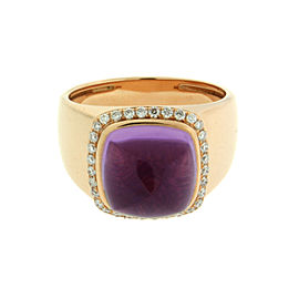 Fred Paris 18K White Gold Amethyst & Diamond Ring