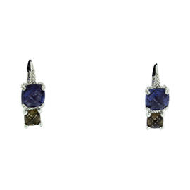 Judith Ripka Sterling Silver Blue Smokey Stone Dangle Charm Earrings