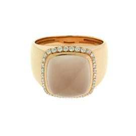 Fred of Paris 18K Rose Gold Pink Quartz & Diamond Ring