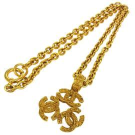 Chanel CC Logos Triple Charm Gold Chain Pendant Necklace