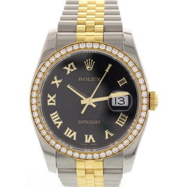 Rolex Datejust Stainless Steel & 18K Yellow Gold Diamond Bezel Men's Watch
