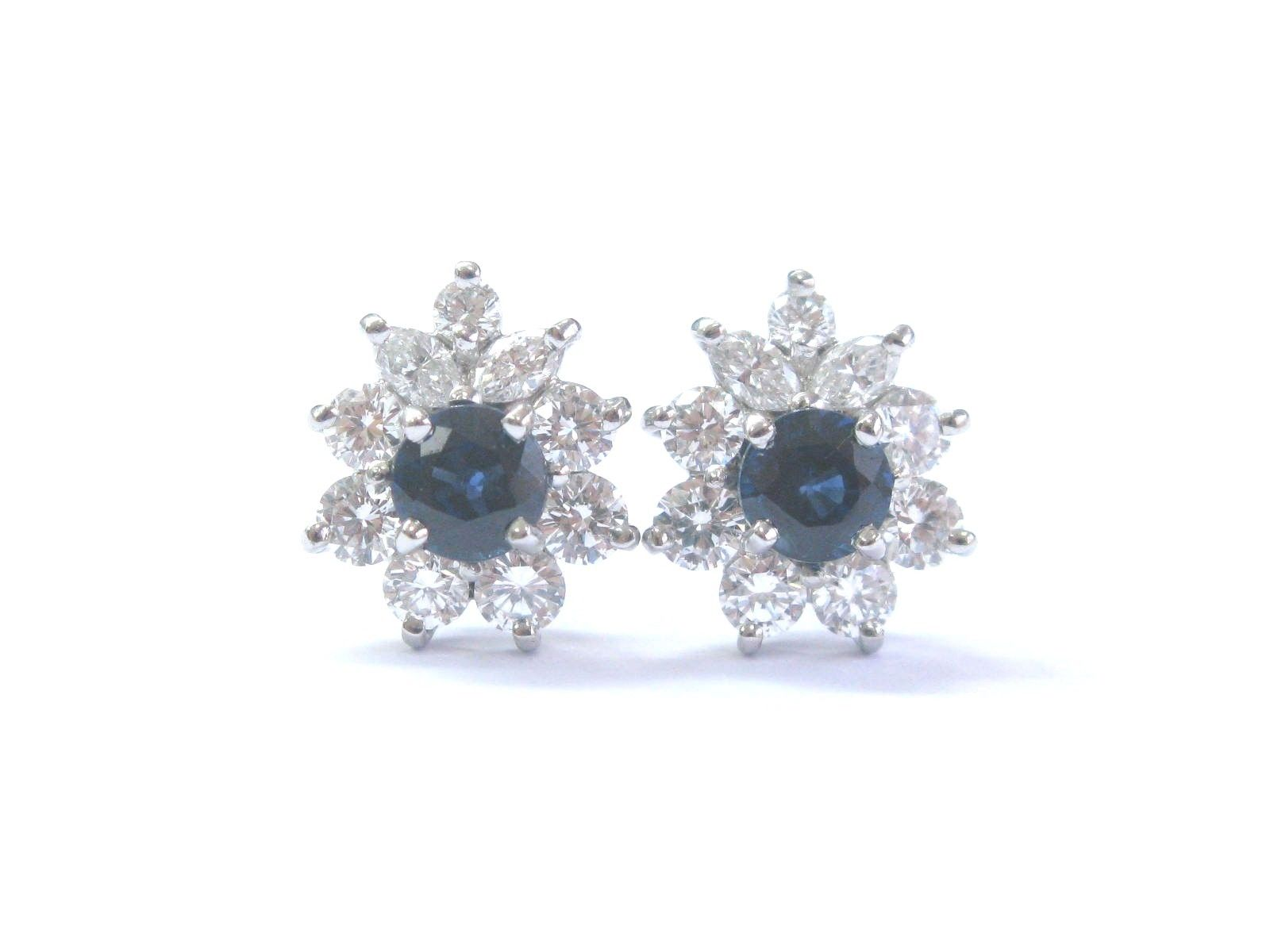 Tiffany & Co Platinum Blue Sapphire and Diamond Victoria Earrings
