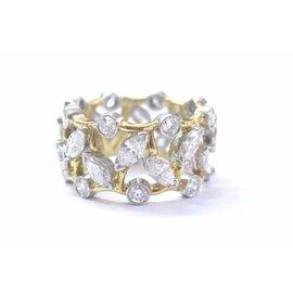 Tiffany & Co. Platinum 18K Yellow Gold Schlumberger Vigne Diamond Ring