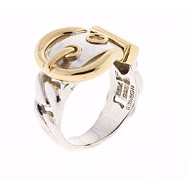 Hermes Sterling Silver & 18K Yellow Gold Ring