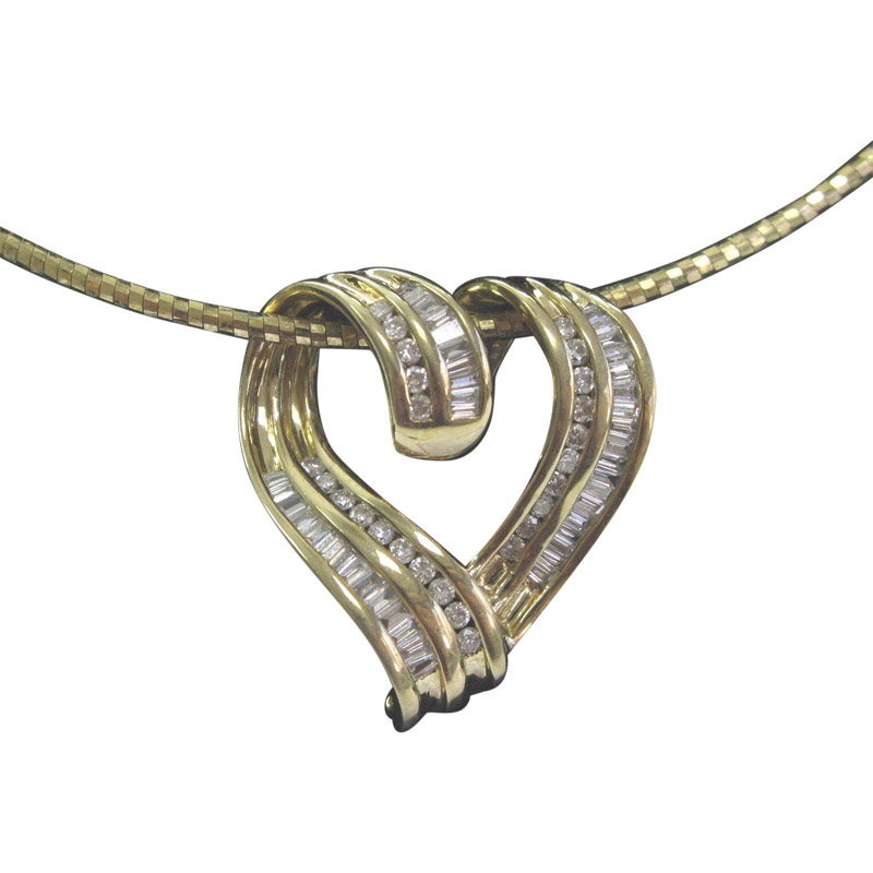 """Image of """"14K Yellow Gold 1.00ct Round & Baguette Diamond Heart Pendant Necklace"""""""