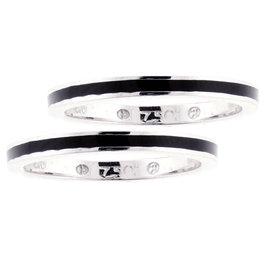 Hidalgo 18K White Gold Black Enamel Ring