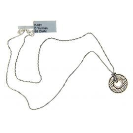 David Yurman Sterling Silver Diamond Carved Cable Disk Necklace