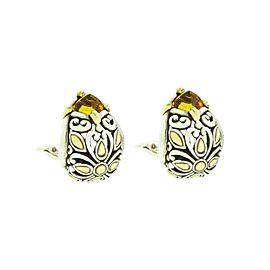 John Hardy 18K Yellow Gold and Sterling Silver Citrine Leaver Back Earrings