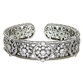 Judith Ripka Sterling Silver CZ Hinged Bangle Size Large