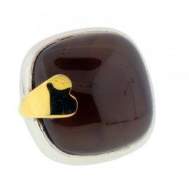 Pianegonda Sterling Silver Large Smokey Quartz Ring