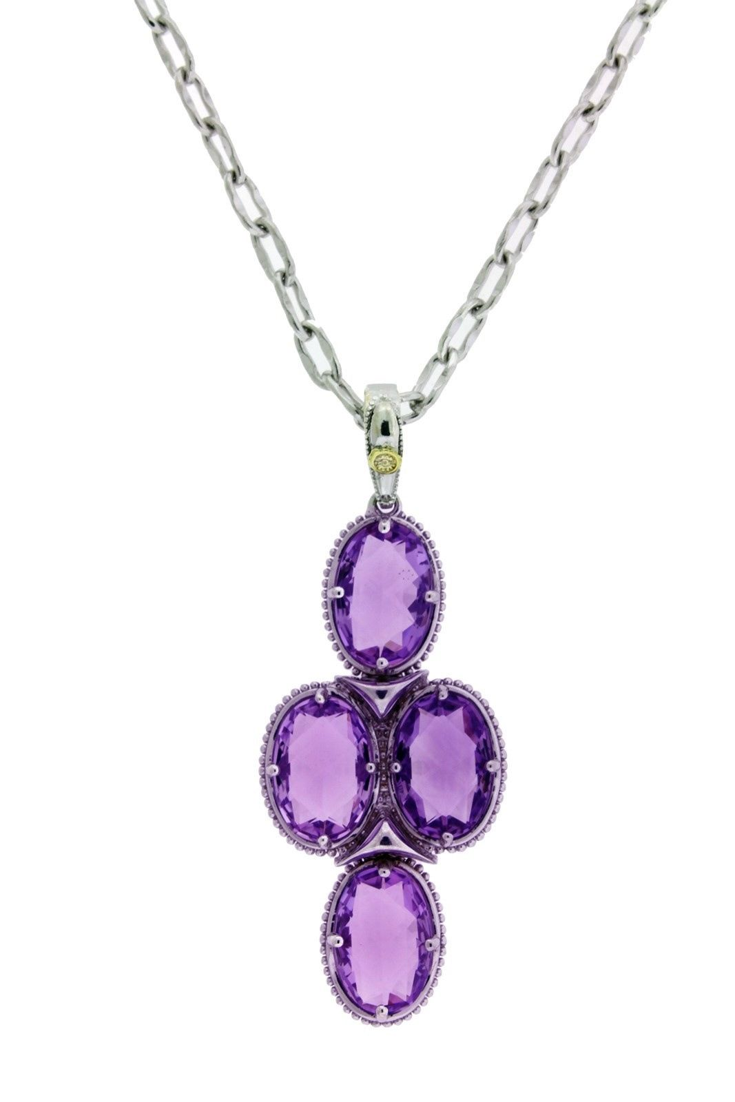 "Image of ""Tacori 18K Gold And Silver Amethyst Oval Pendant"""