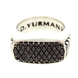 David Yurman Chevron Silver & Black Diamond Ring