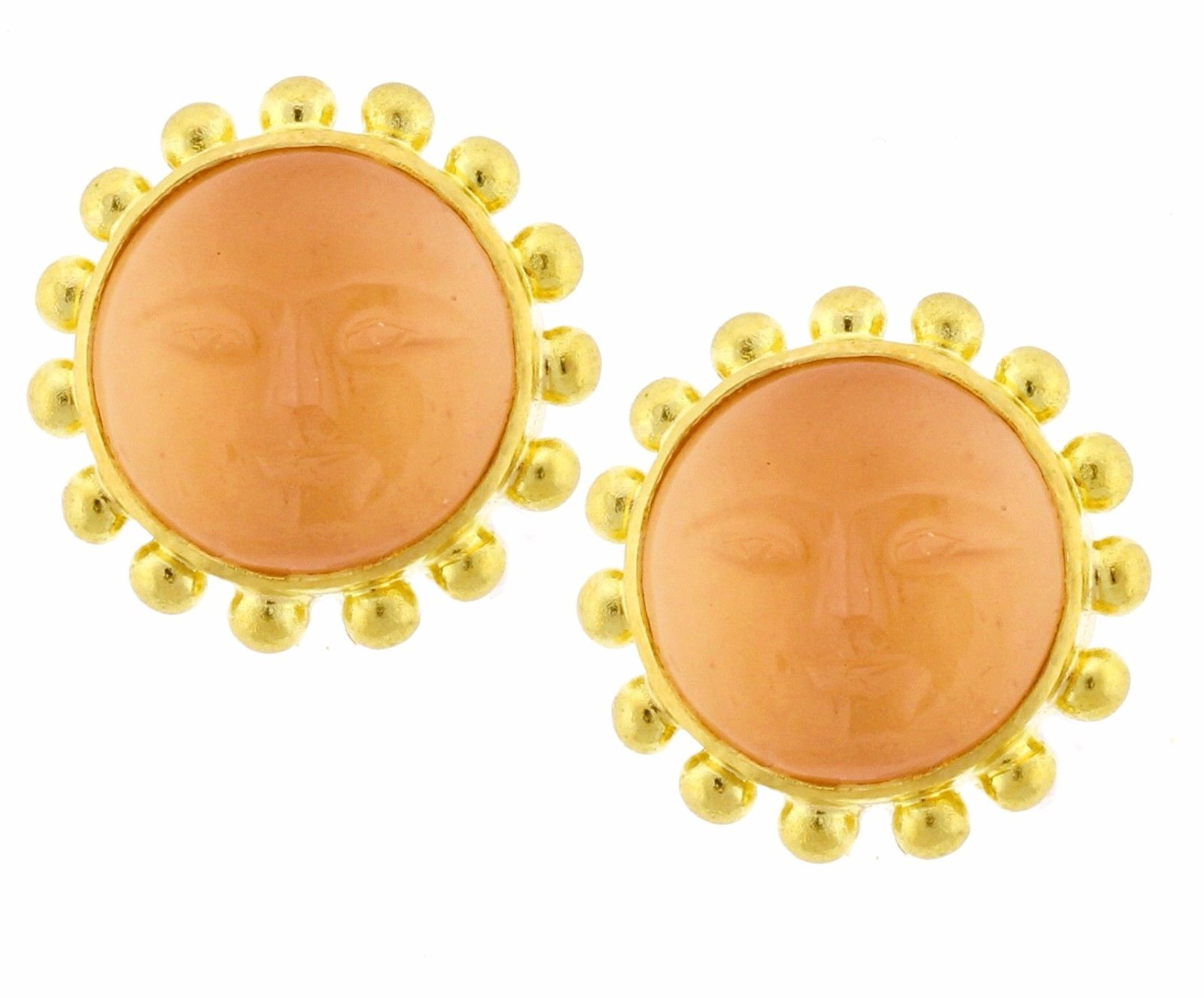 "Image of ""Elizabeth Locke Man on the Moon 19K Yellow Gold Earrings"""