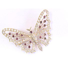18k Yellow Gold Ruby 4.11Ct Diamond Butterly Brooch