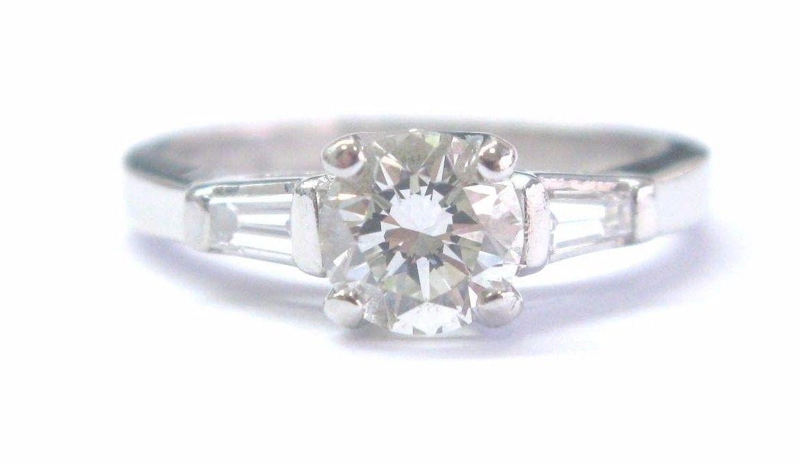 "Image of ""Platinum 1.22 Ct Round & Baguette Diamond Three Stone Diamond"""