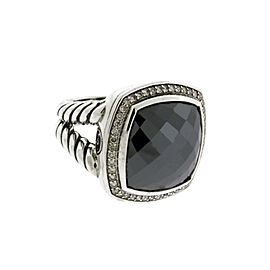 David Yurman Sterling Silver .33ct Diamond & Hematite Albion Ring Sz 7