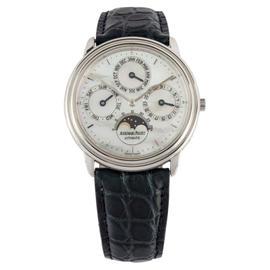 Audemars Piguet Quantieme Perpetuel 25657PT Platinum & Leather 36mm Watch