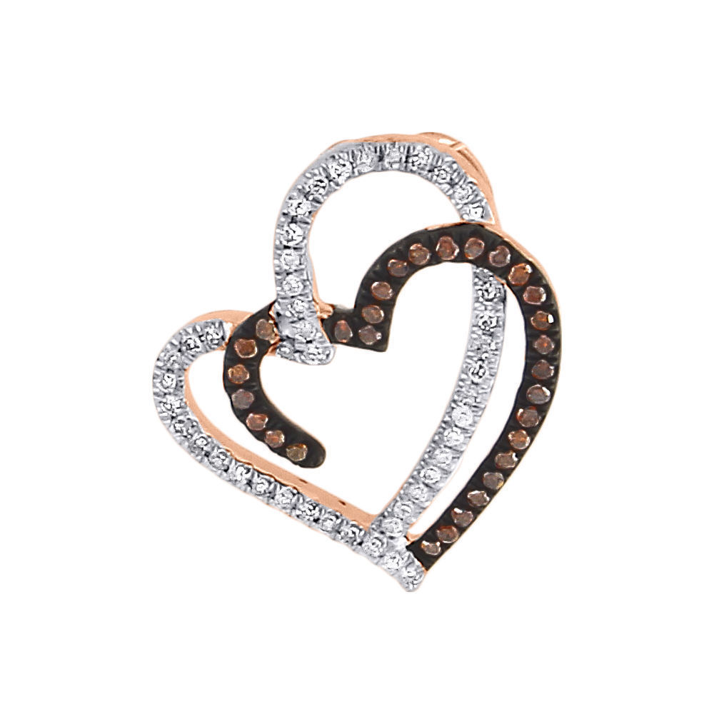 "Image of ""10K Rose Gold Double Heart 0.20ct Red and White Diamond Pendant Charm"""