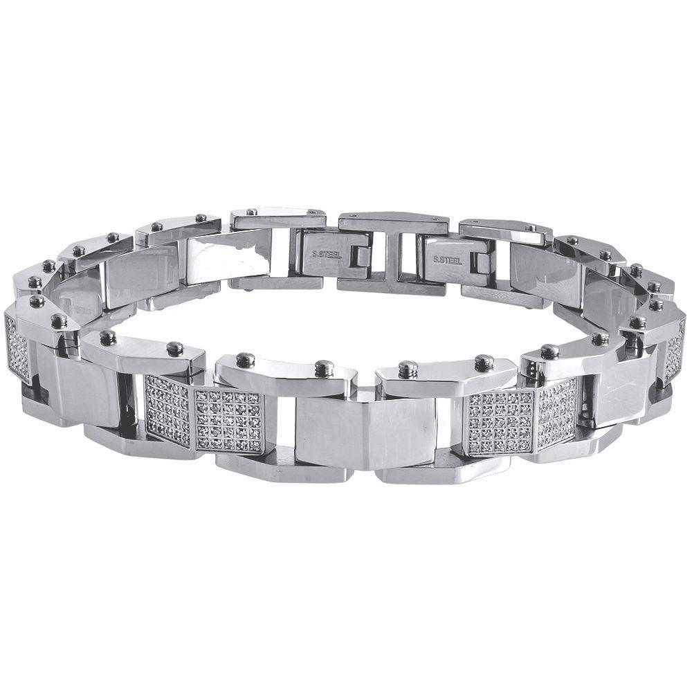 "Image of ""Stainless Steel 1.80ct Diamond Pave Links Bangle Bracelet"""