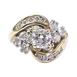 14 Yellow Gold Diamond Solitaire W Accent Engagement Ring Size 5