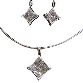 14K White Gold Diamond Necklace & Earrings