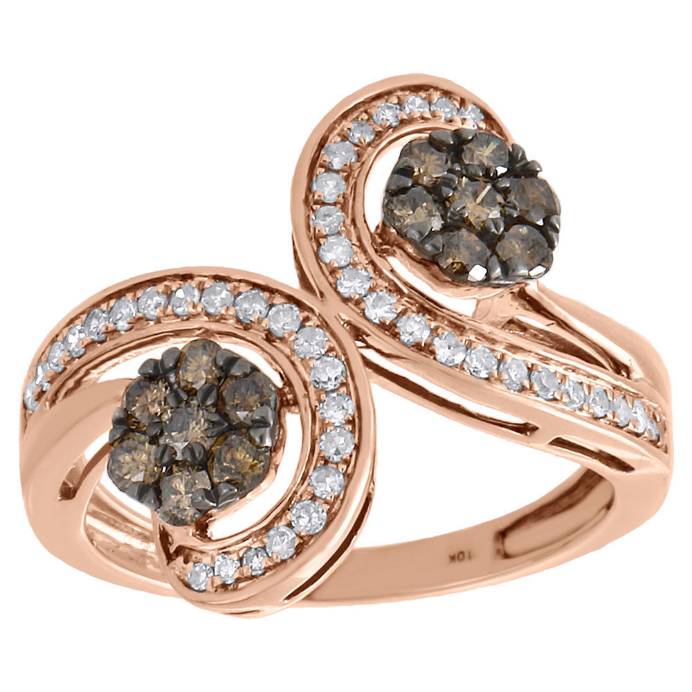 "Image of ""10K Rose Gold 0.75ct Brown & White Diamond Ring Size 7"""