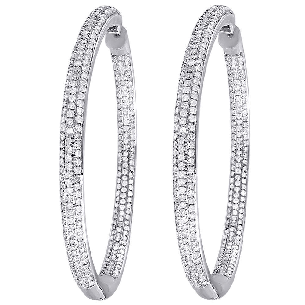 "Image of ""14K White Gold Round Pave In & Out 2.98ct Diamond Hoops Earrings"""