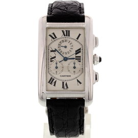 Cartier 2312 Tank Americaine 18K White Gold Chronograph Unisex Watch