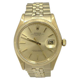 Rolex Oyster Perpetual Date 1503 14K Yellow Gold Mens 1971 Vintage 34mm Watch