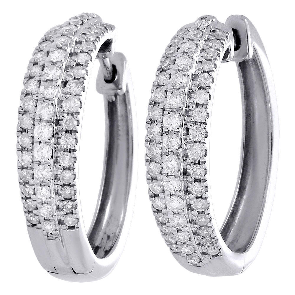 "Image of ""10K White Gold 1.00ct Round Diamond 3 Row Circle Hinged Hoop Earrings"""