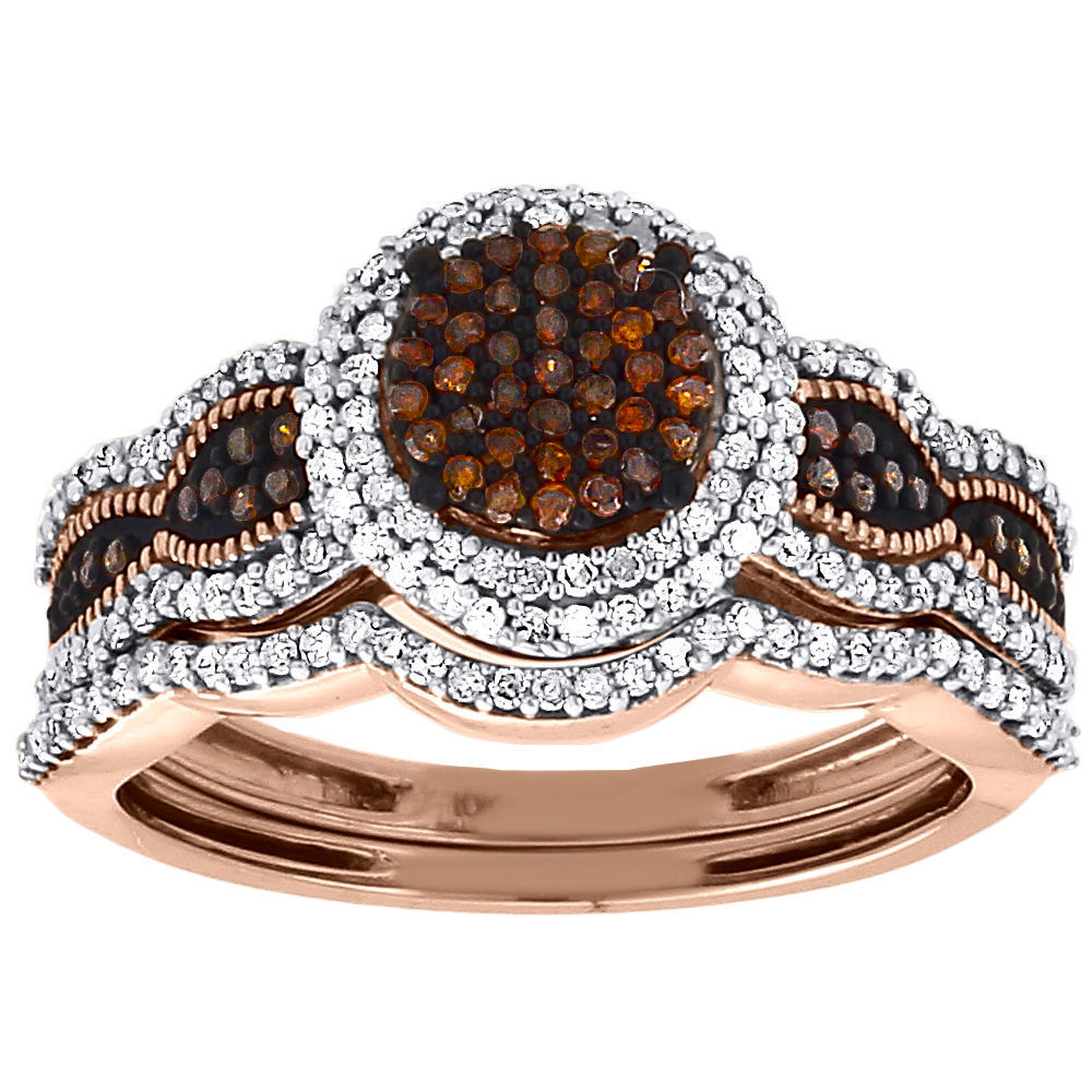 "Image of ""10K Rose Gold 0.50ct Round Cut Red Diamond Bridal Set Wedding Ring"""