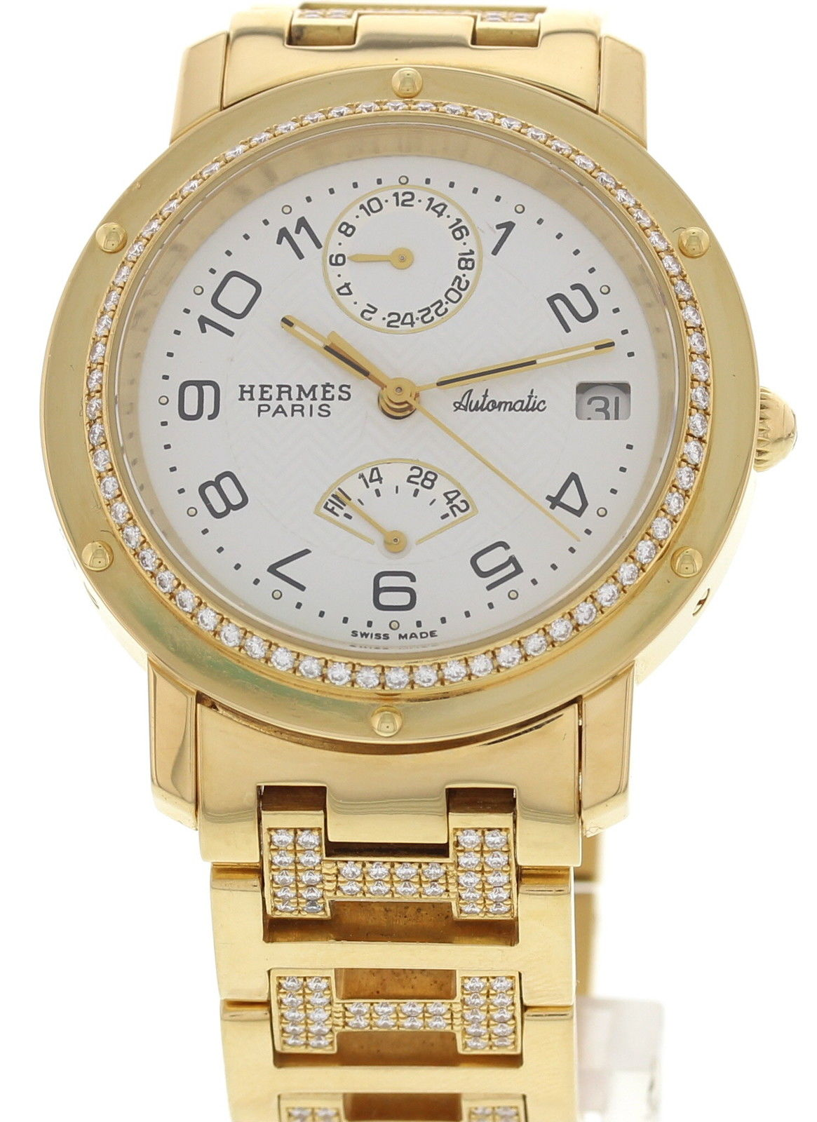 "Image of ""Hermes 1033935 18K Yellow Gold & Diamonds Womens Watch"""