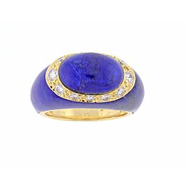Van Cleef & Arpels 18K Yellow Gold Lapis and Diamond Ring