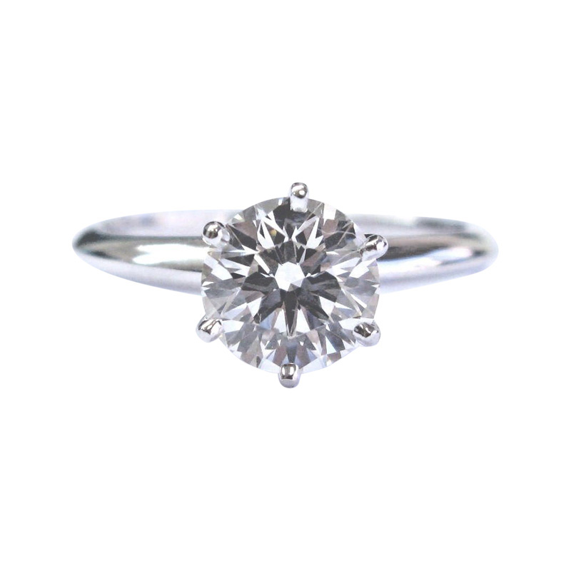 "Image of ""Tiffany & Co. 950 Platinum Round Diamond Solitaire Ring"""