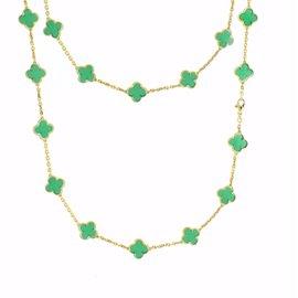Van Cleef & Arpels Alhambra 18K Yellow Gold 20 Motiff Chrysoprase Necklace