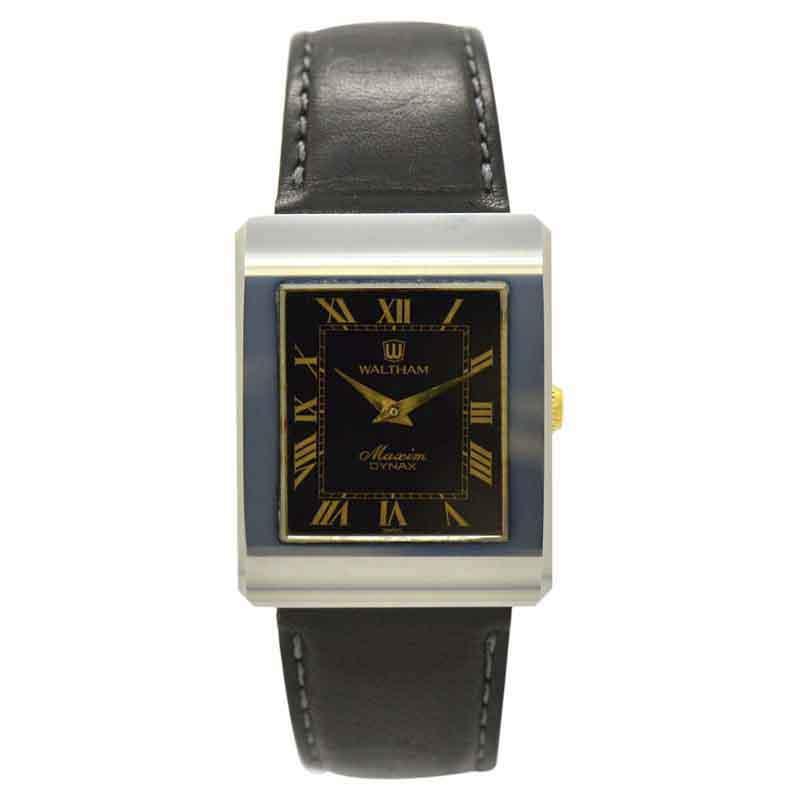 "Image of ""Waltham Maxcim Titanium & Leather Black Dial Manual 26.5mm Men's Watch"""