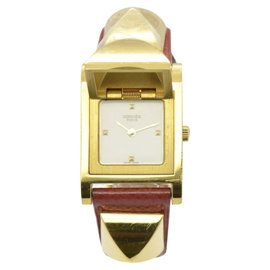 Hermes Medor ME1.210 Gold Plated and Leather Red Stamp 23mm Womens Watch