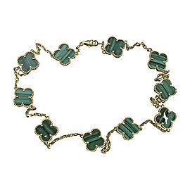 Van Cleef & Arpels 18K Yellow Gold 10 Motif Alhambra Malachite Necklace