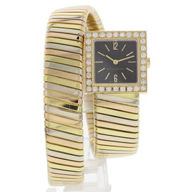 Bulgari Serpenti SQ221T 18K Tri Color Bangle w/ Diamonds 22mm Womens Watch